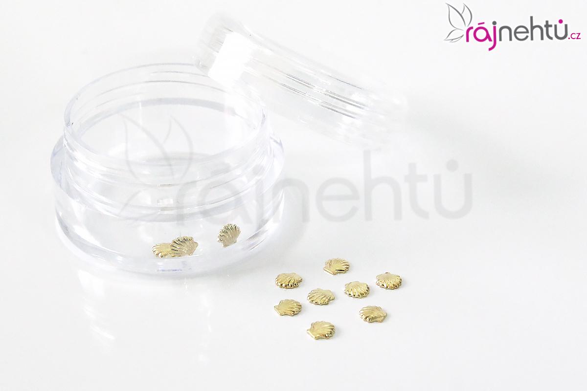 Zdobenie na nechty kovové - mušličky zlaté