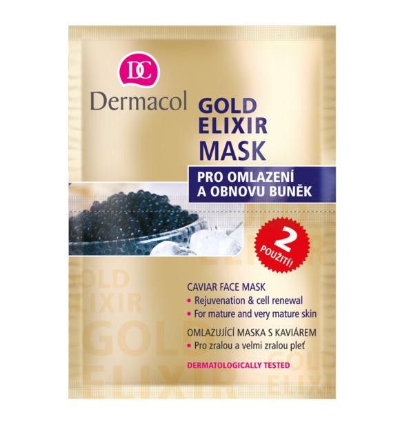 Dermacol - GOLD ELIXIR MASK - Omladzujúca maska s kaviárom - 16 ml (2x8)